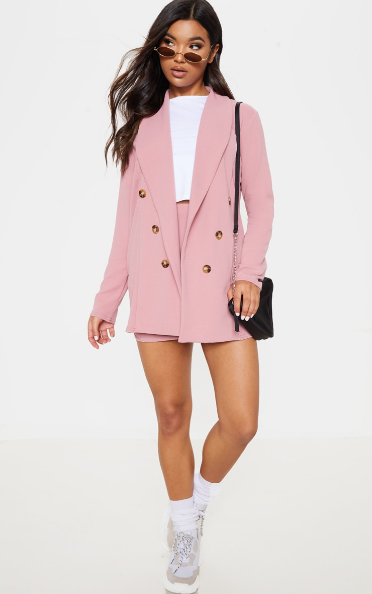 Pink Oversized Button Detail Blazer  1