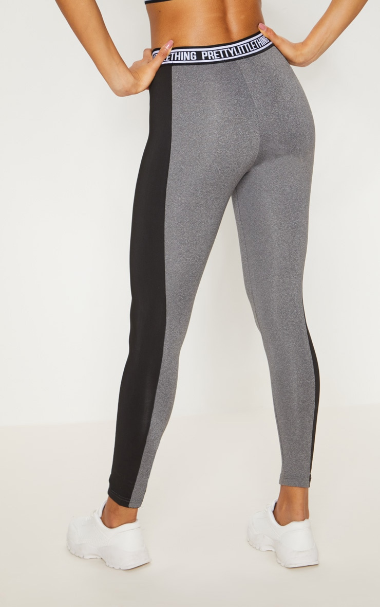 PRETTYLITTLETHING Charcoal Contrast Stripe Sports Legging 4