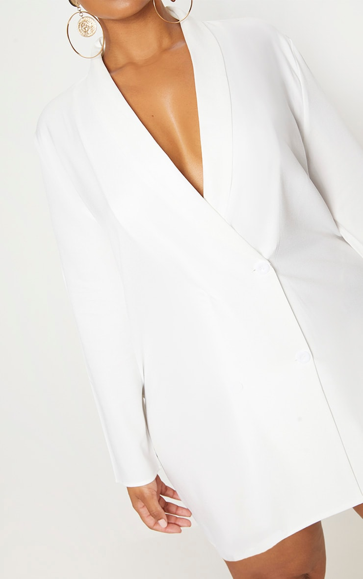 Plus White Oversized Blazer Dress 5