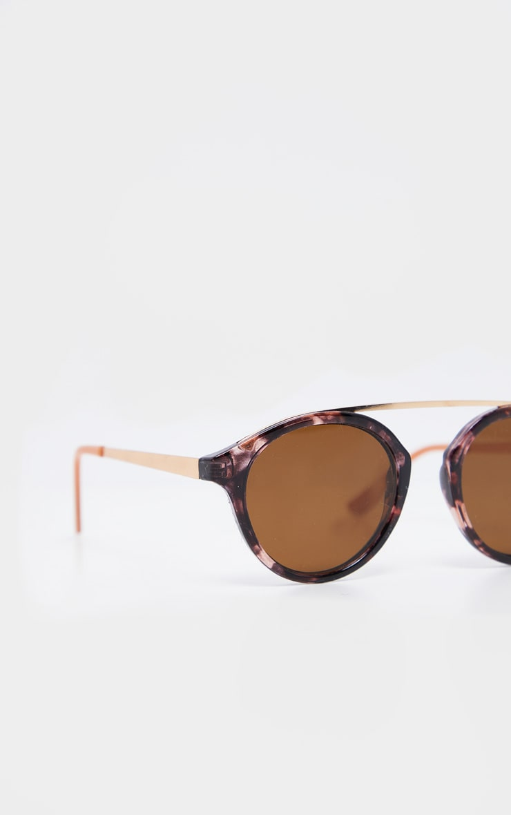 Peach Marble Effect Rose Gold Brow Bar Round Sunglasses           4
