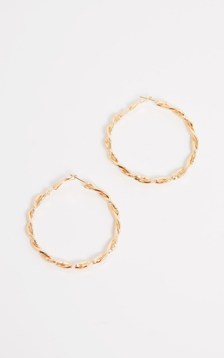 Gold Twisted Hoops 3