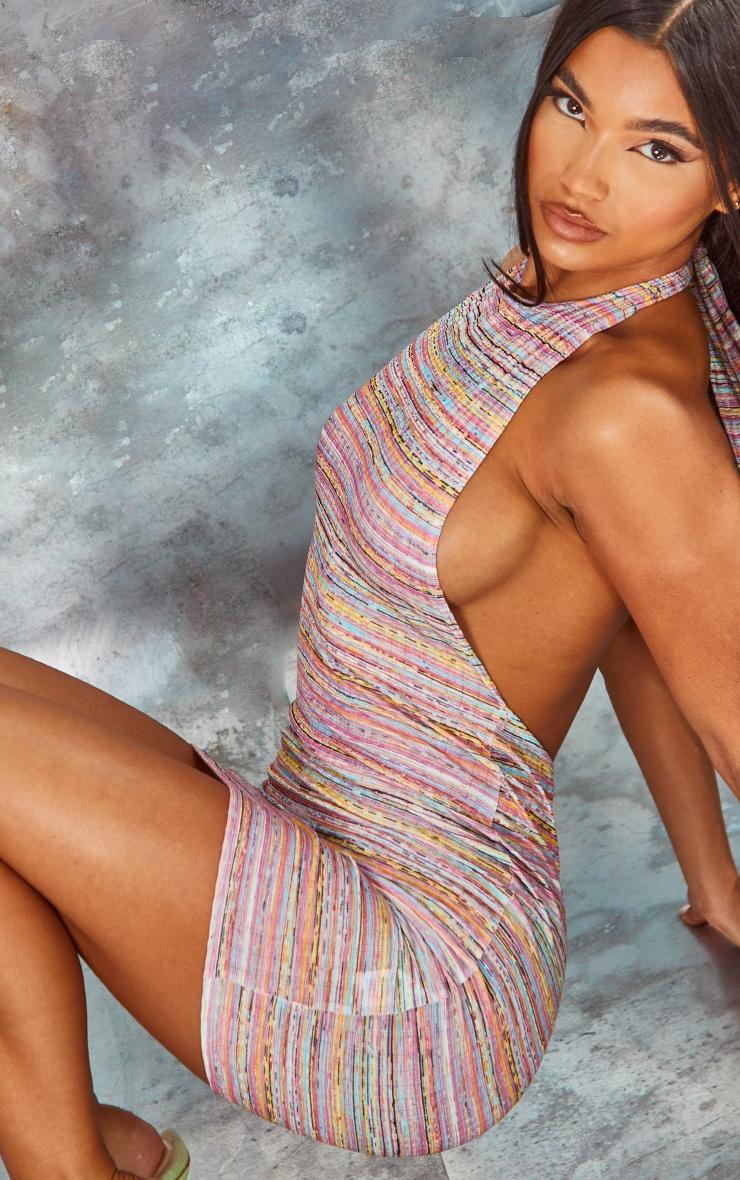 Multi Stripe Print Halterneck Low Back Bodycon Dress 4