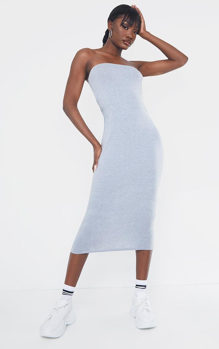 Tall Grey Bandeau Jersey Midi Dress 4