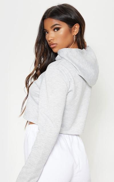 Basic Grey Crop Hoodie