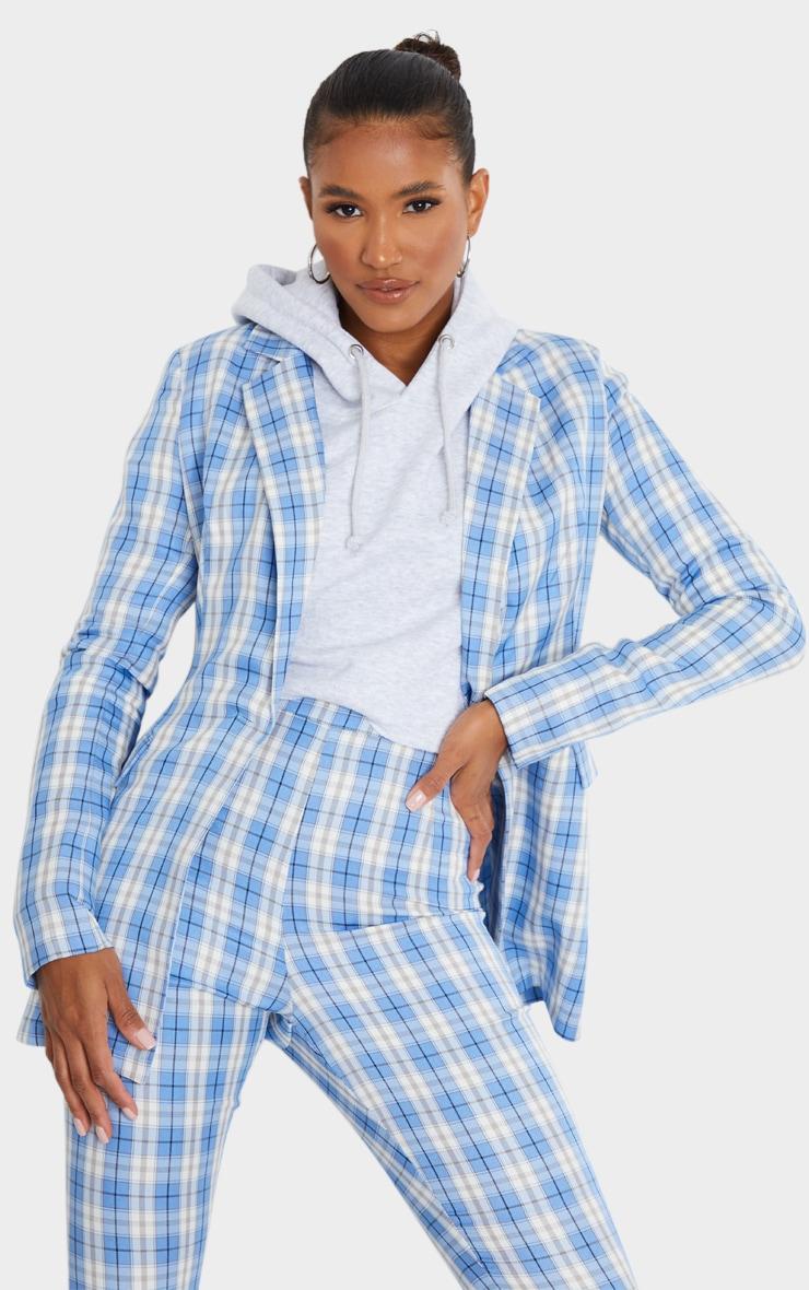 Light Blue Check Print Pinched Waist Blazer 1