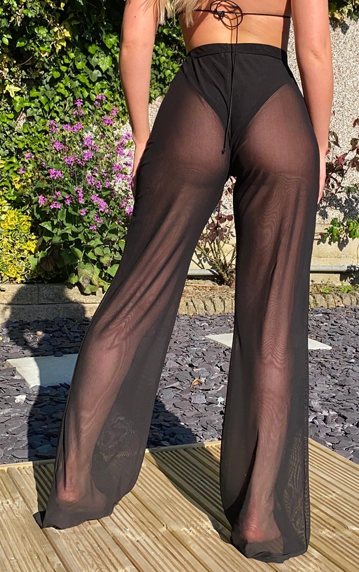 Black Mesh Beach Wide Leg Pants 3
