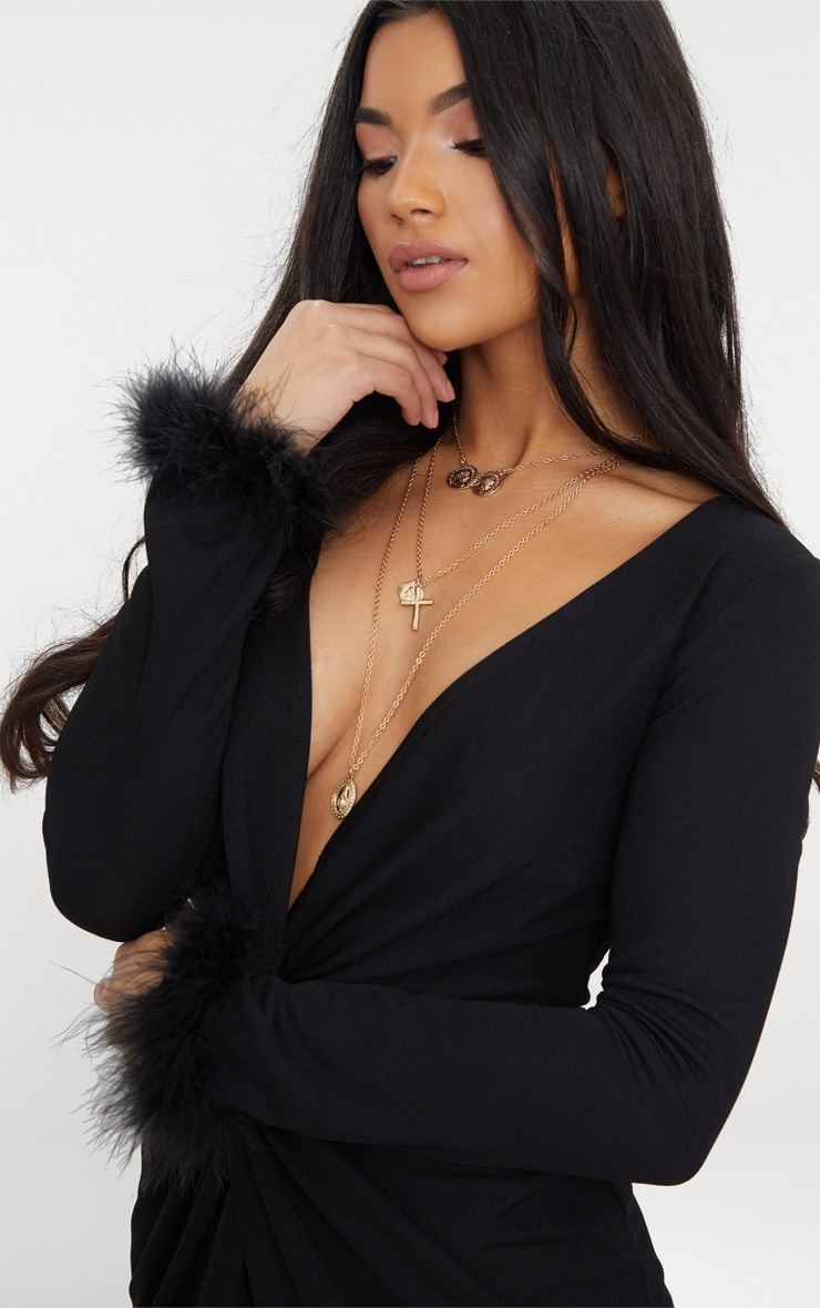 Black Long Sleeve Feather Cuff Wrap Bodycon Dress 5