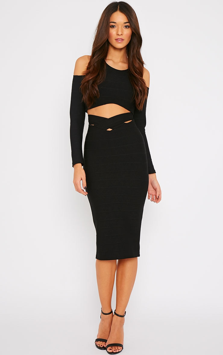 Jaimie Black Cut Out Bandage Crop Top  5
