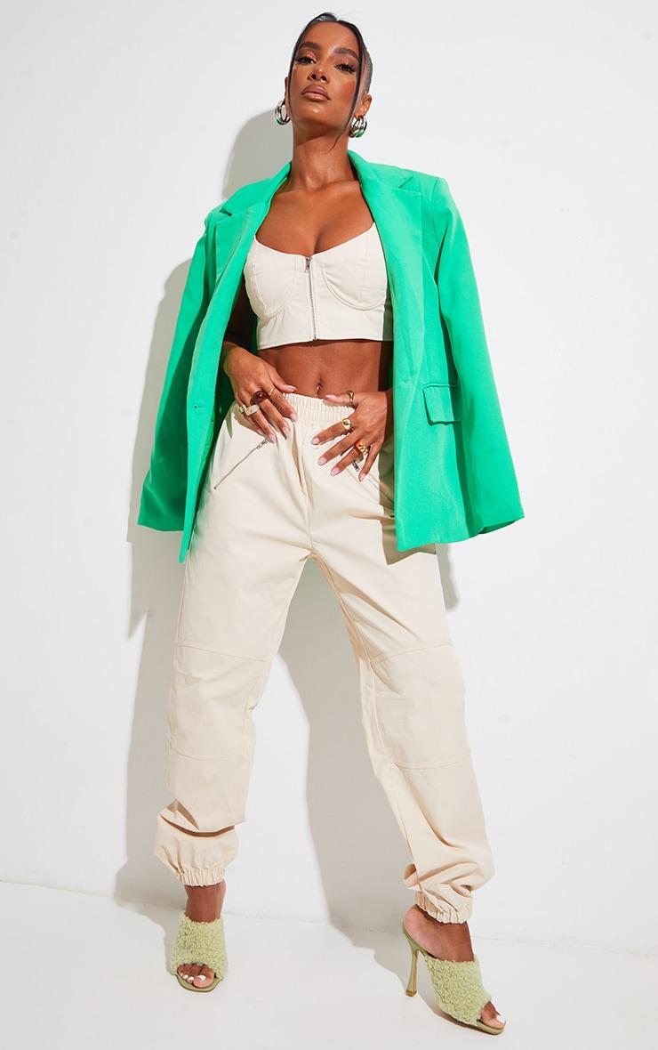Cream Woven Zip Detail Cuffed Pants 1
