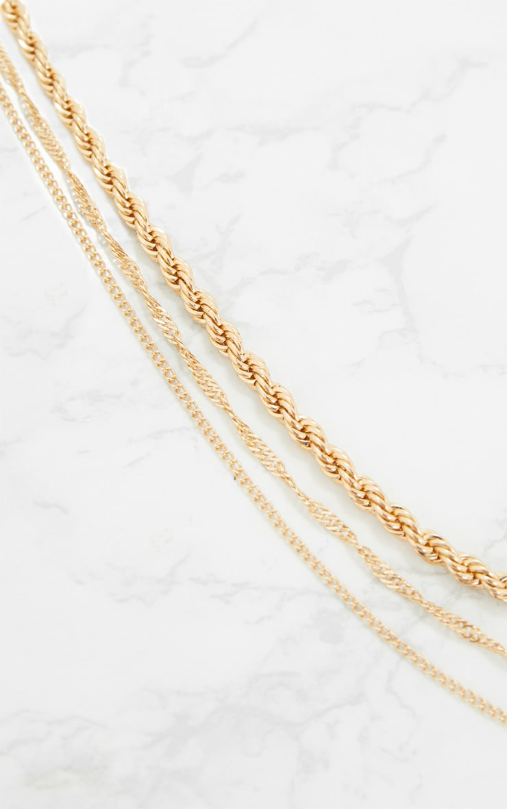 Gold Triple Layered Chunky Necklace 4