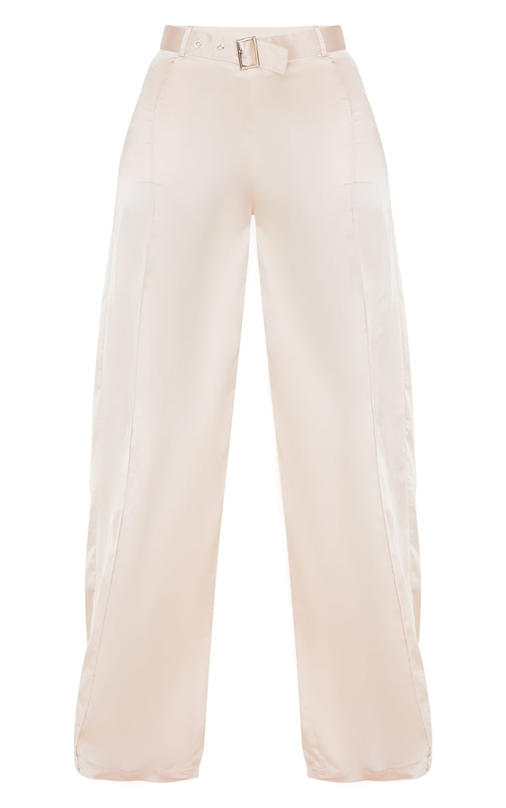 Tall Stone Satin High Waisted Belted Trousers 5