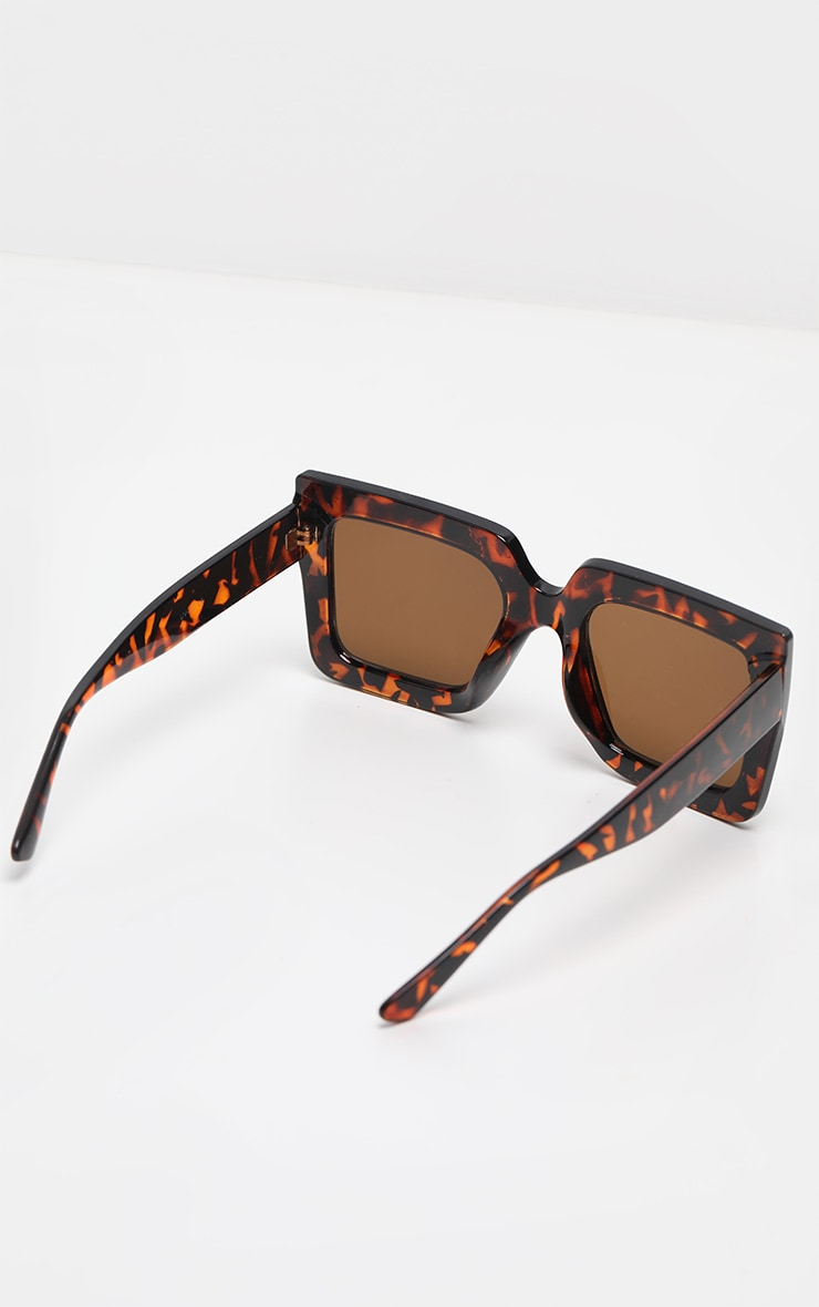 Tortoise Shell Oversized Chunky Square Sunglasses 4