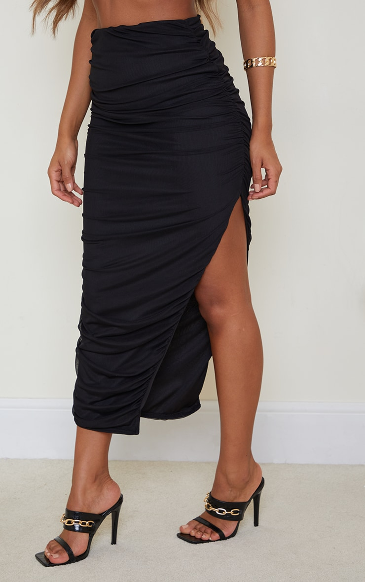 Black Mesh Layered Ruched Detail Split Leg Midaxi Skirt 2