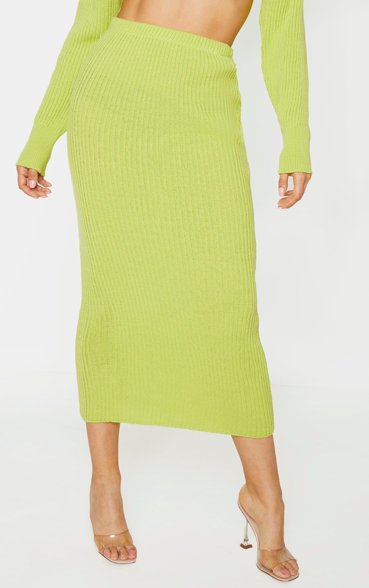 Tall Neon Green Knitted Midi Skirt 2