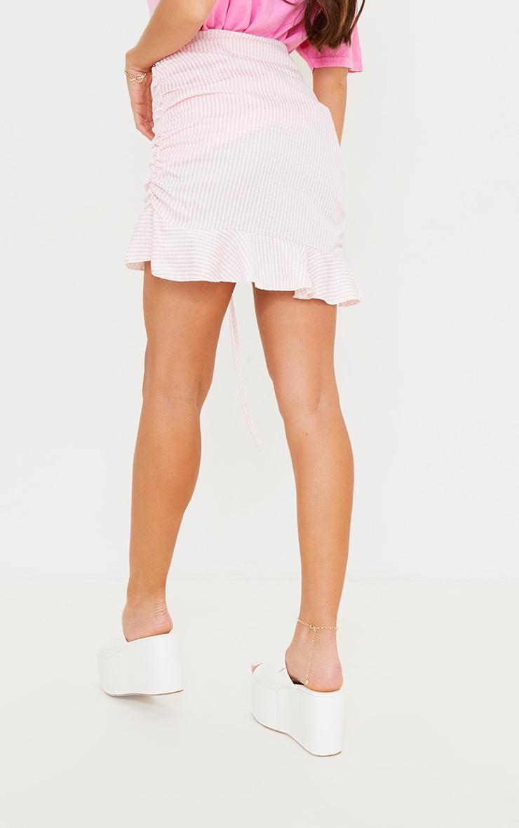 Mini-jupe froncée rose imprimé vichy en maille tissée 3