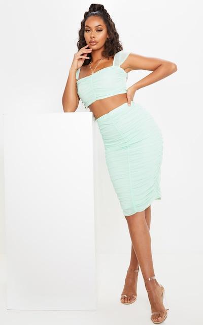 Mint Mesh Ruched Midi Skirt