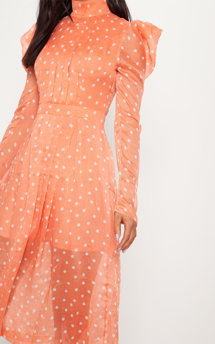 Orange Polka Dot Chiffon Midi Skater Dress 5