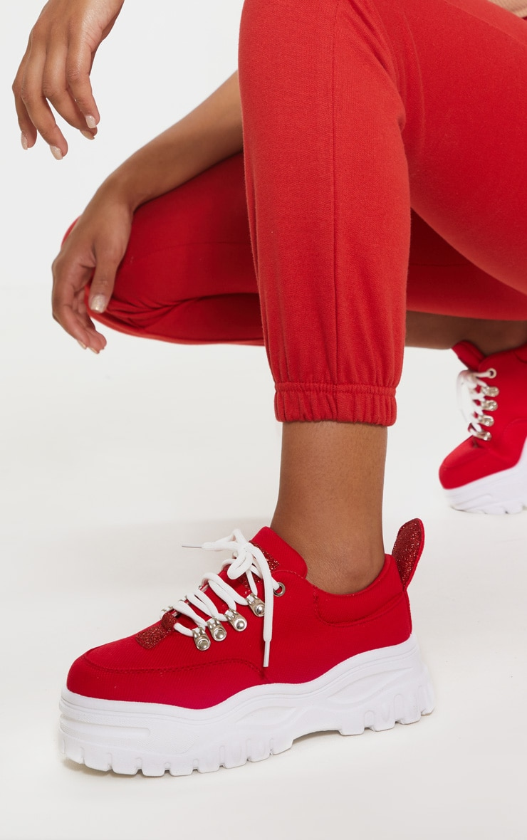 Red Flatform Chunky Hiker Trainer 1