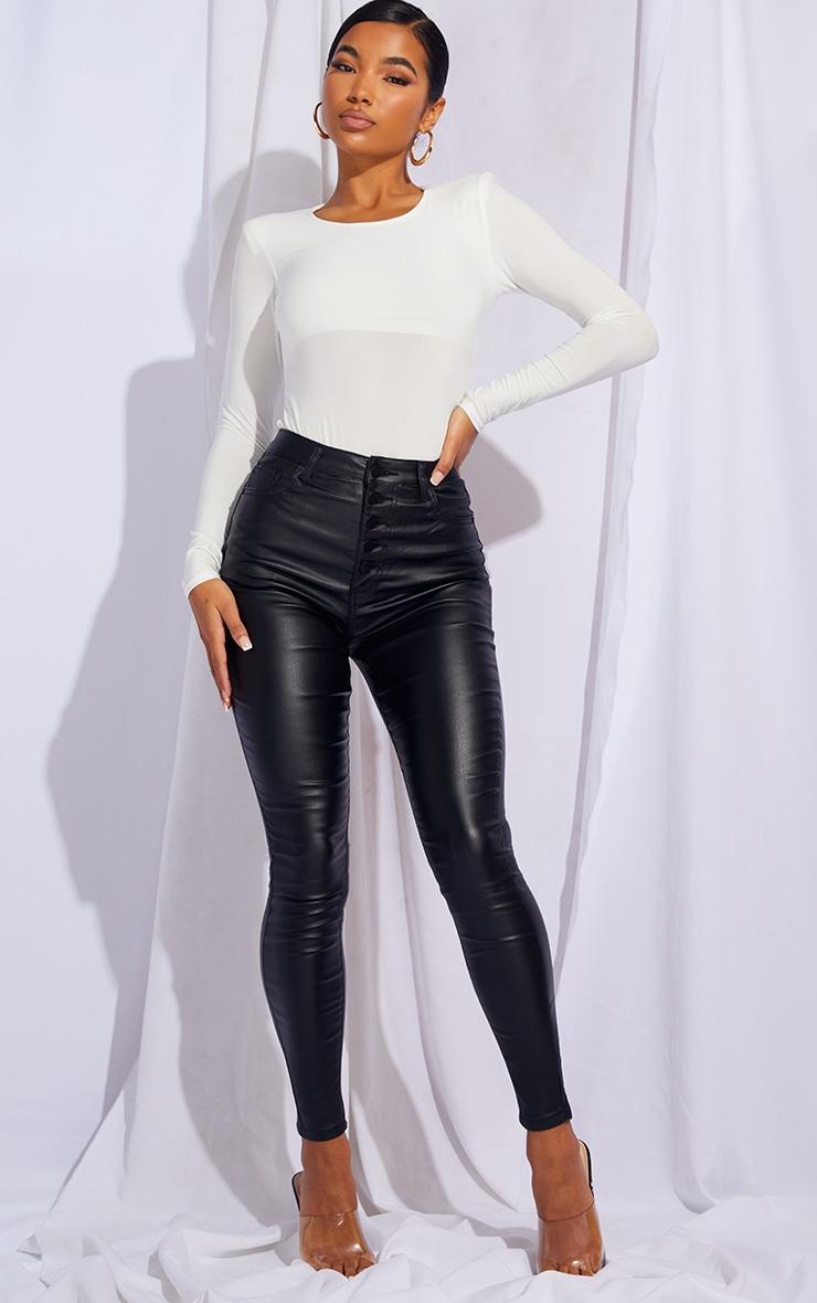 Black Button Detail Coated Skinny 5 Pocket Jeans 1