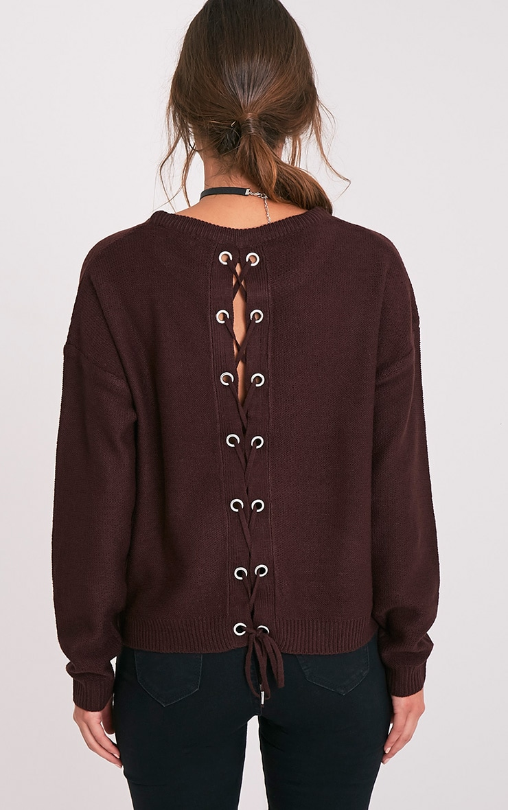 Alissa Berry Lace Up Back Knitted Jumper 2