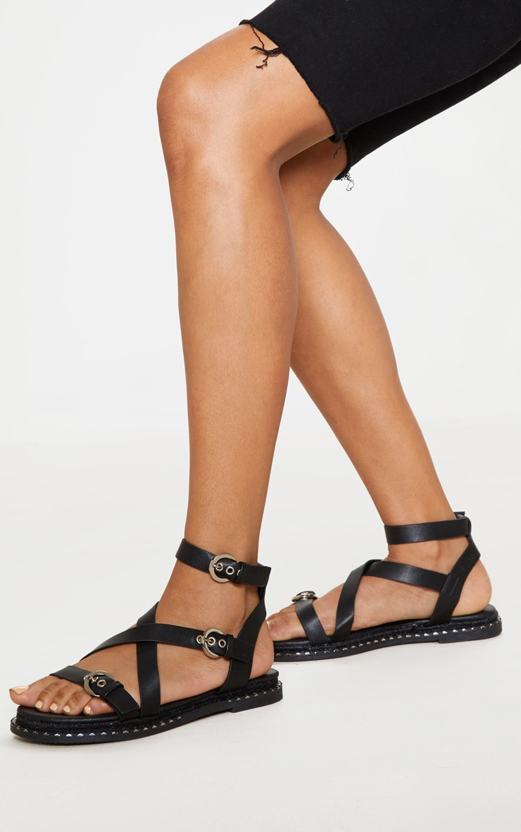 Black Chunky Sole Strappy Sandal 2