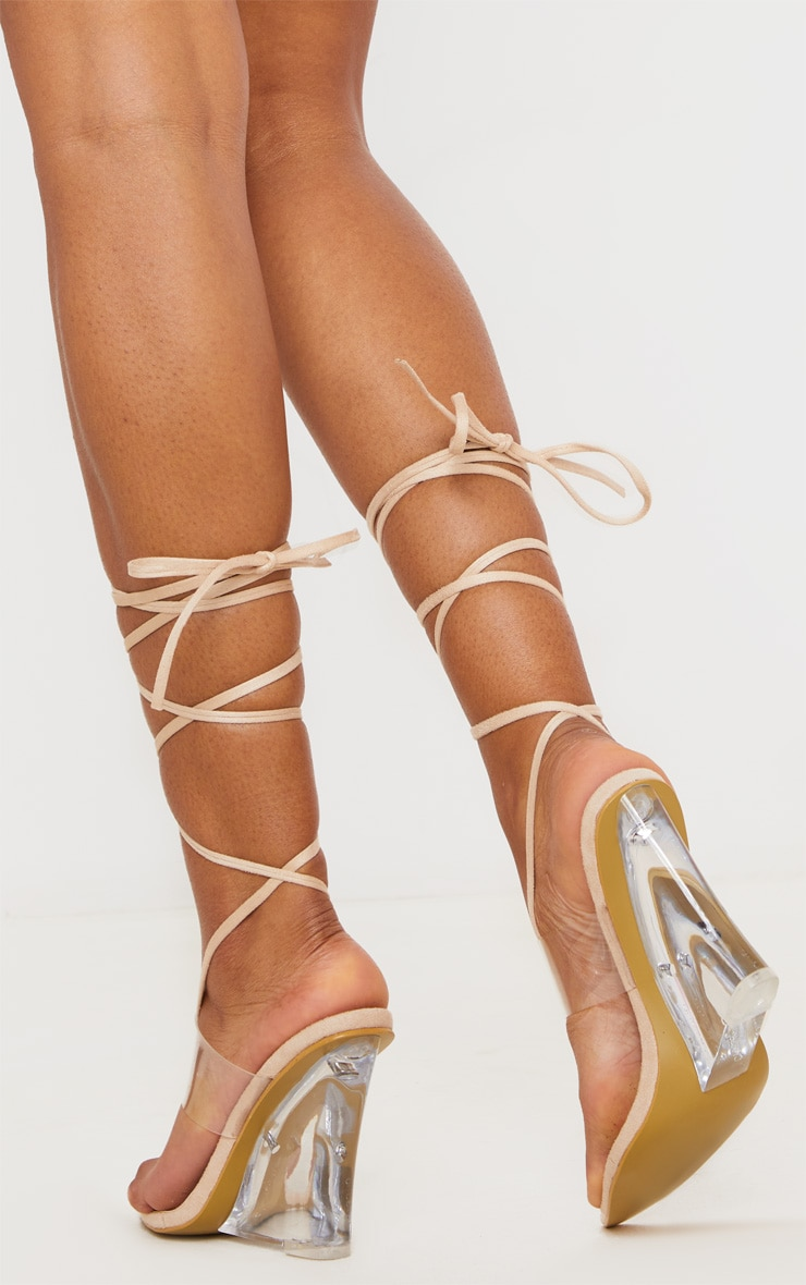 Nude Clear Wedge Point Toe Thong Sandals 2