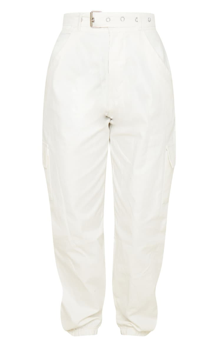 Cream Eyelet Detail Belted Cargo Trousers 4