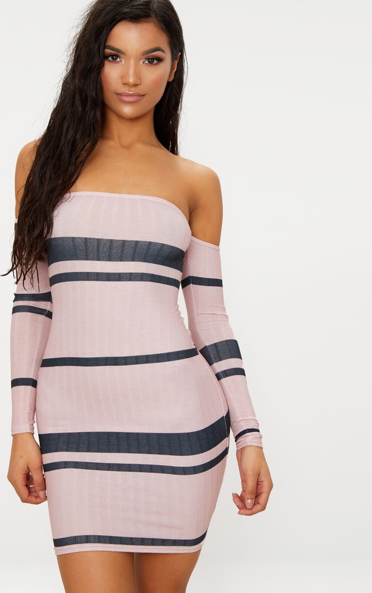 Pink Stripe Ribbed Bardot Bodycon Dress 1