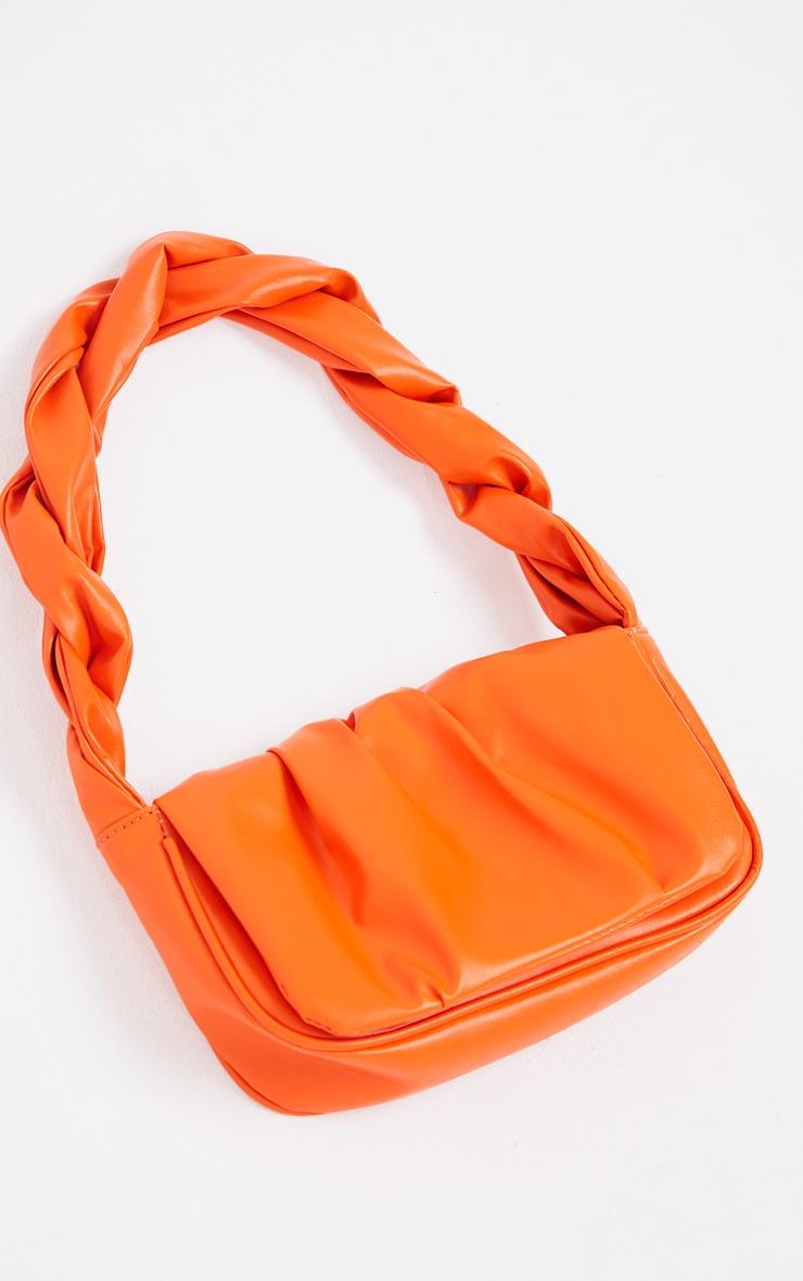 Orange Twist Strap Ruched Front Shoulder Bag 2