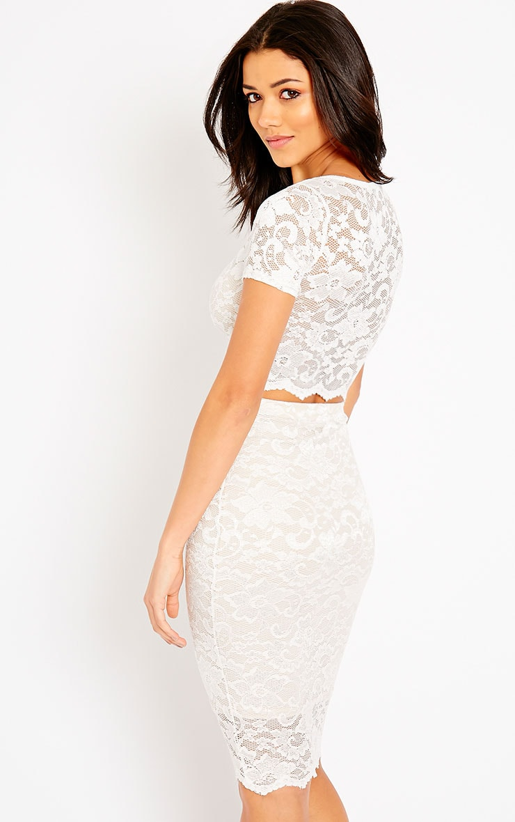 a405a42ce5f3c0 New Look Lace Scallop Top And Midi Skirt Co Ord | Saddha
