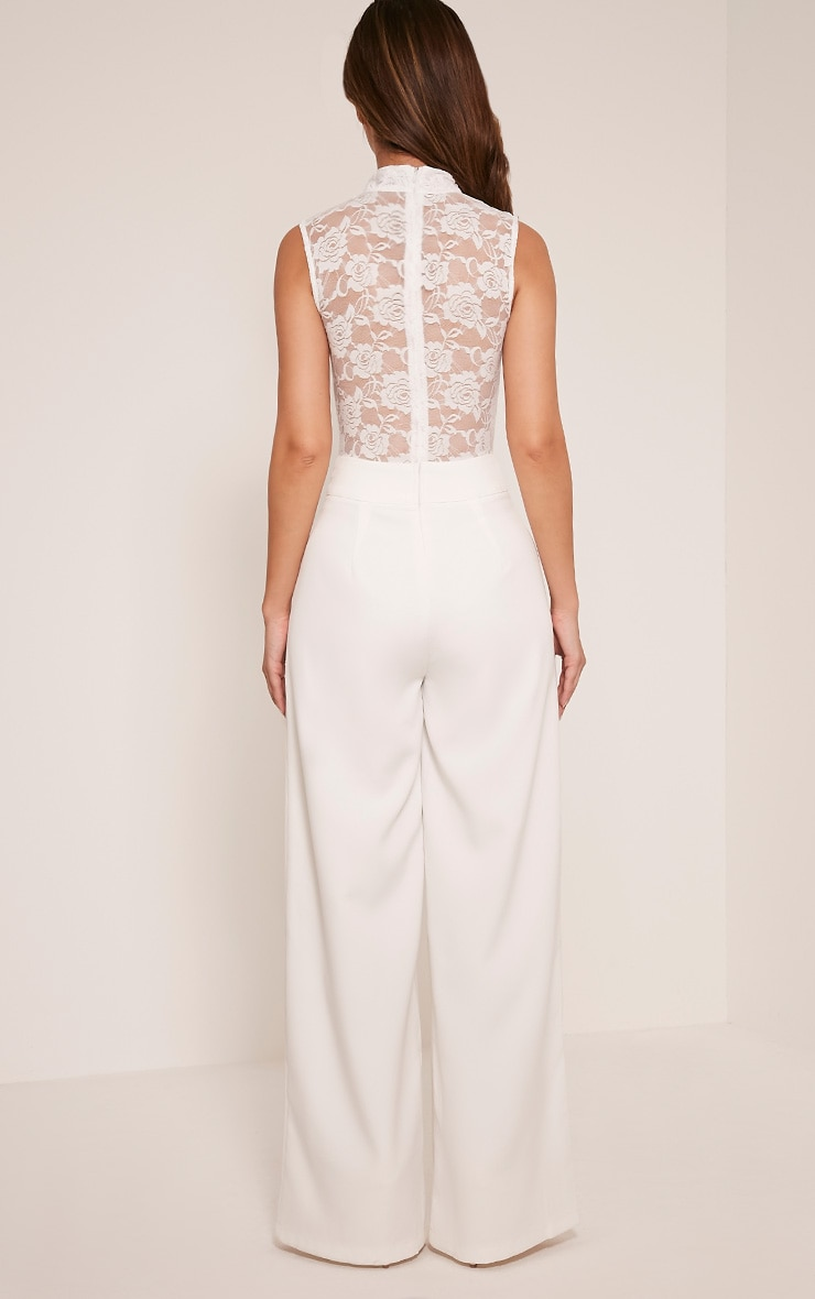 Miley White Sleeveless Lace Top Jumpsuit 2