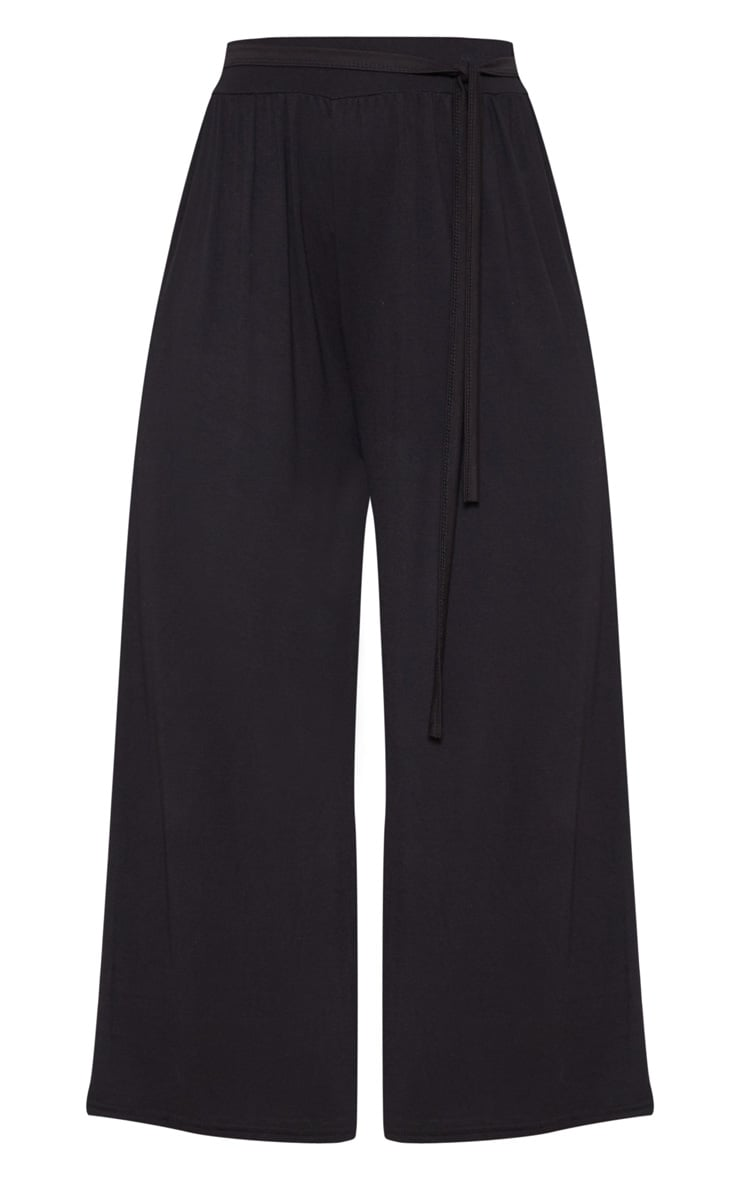 Black Gathered Waist Tie Detail Wide Leg Culotte 3