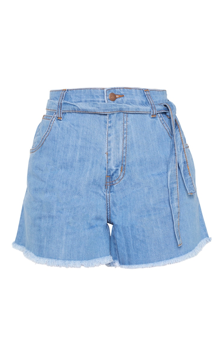 Tall Light Wash Frayed Hem Tie Belt Denim Shorts 3