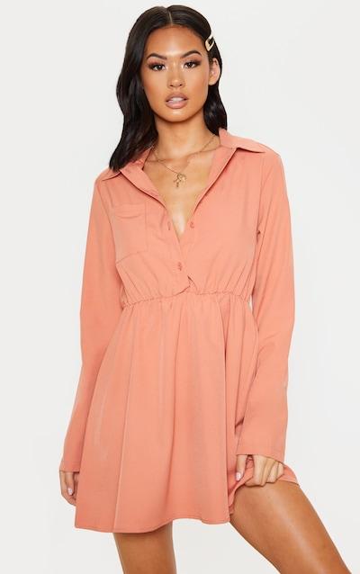 Peach Pocket Front Elastic Waist Shirt Dress