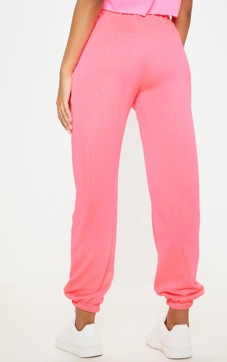 Neon Pink Basic Cuffed Hem Jogger 4