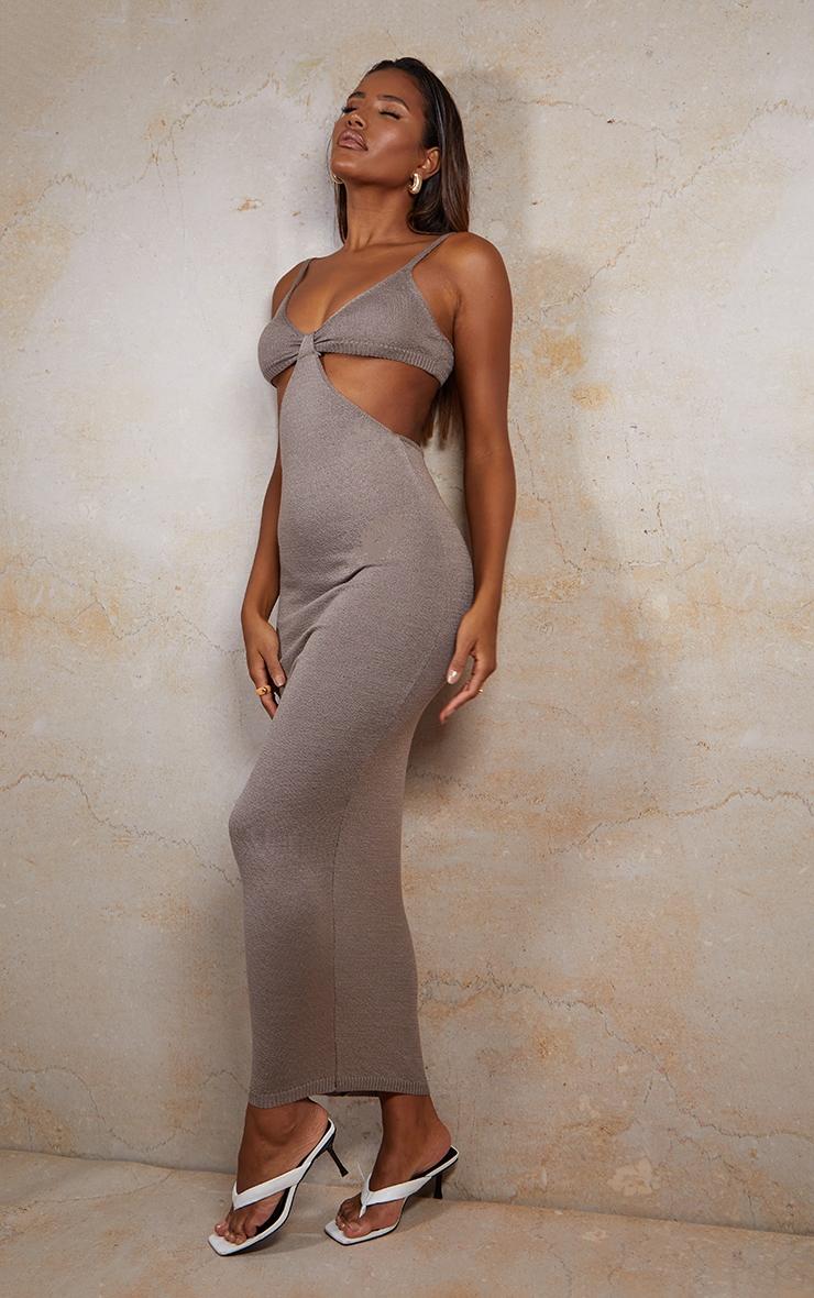 Mocha Sheer Knit Cut Out Maxi Dress 3