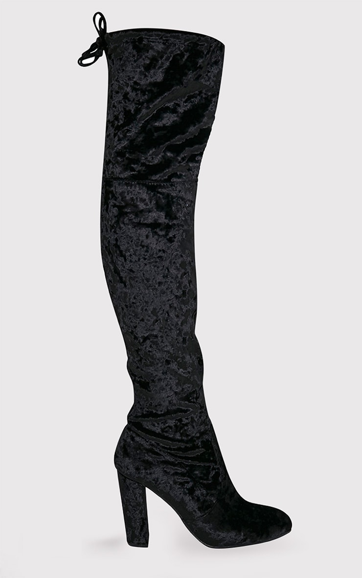 704dbdaf680 Bess Black Crushed Velvet Heeled Thigh Boots - Boots ...