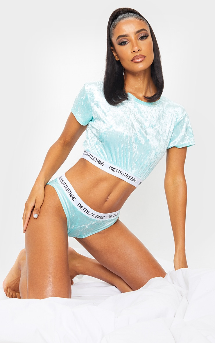PRETTYLITTLETHING Mint Velvet Short Sleeve Top And Panties Pj Set 1