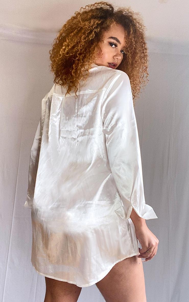 Plus Cream Satin Button Front Shirt Dress 2