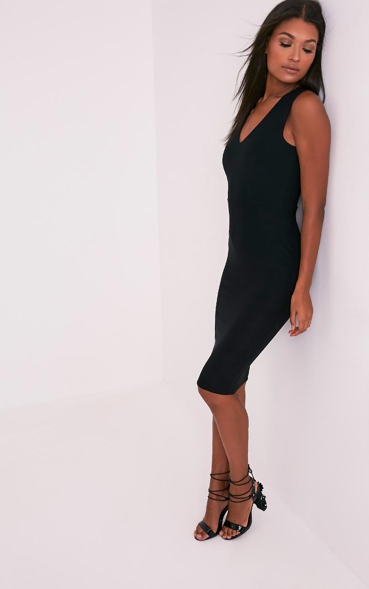 Chanee Black Sleeveless Plunge Midi Dress 5