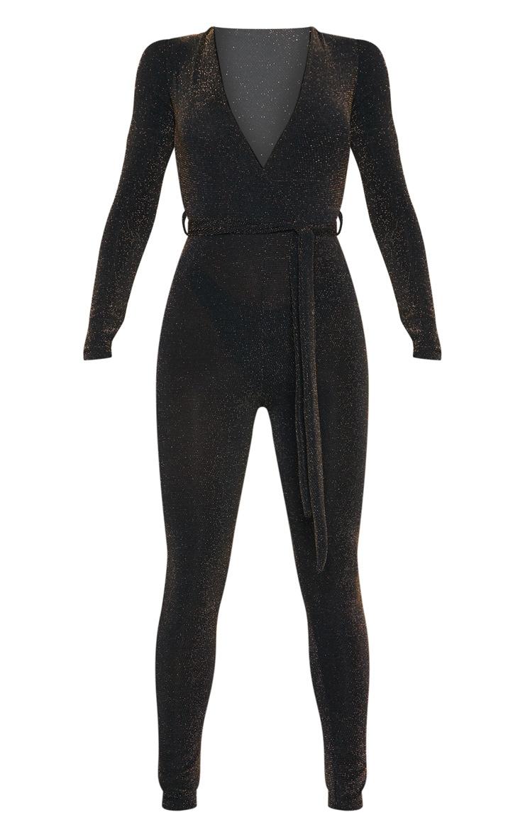 Black Textured Glitter Tie Waist Jumpsuit 3