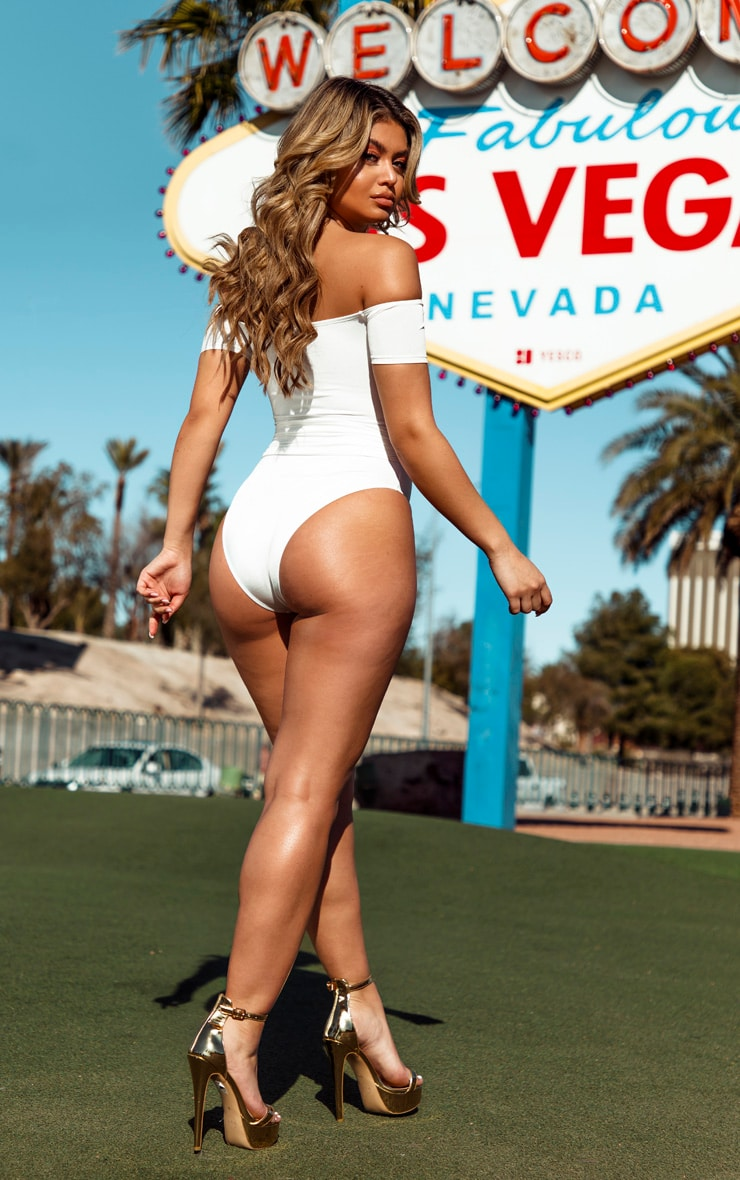 White Chain Belted Bardot Swimsuit 2