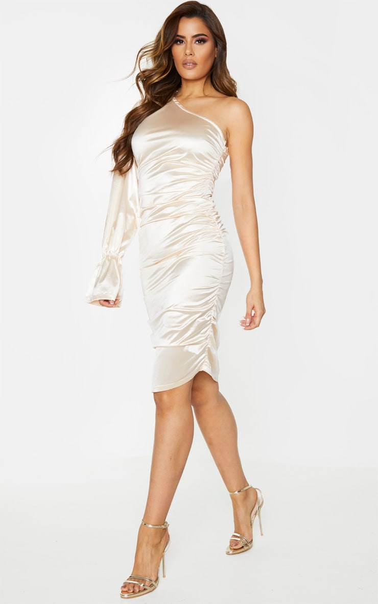 Tall Champagne One Shoulder Satin Ruched Side Midi Dress 3