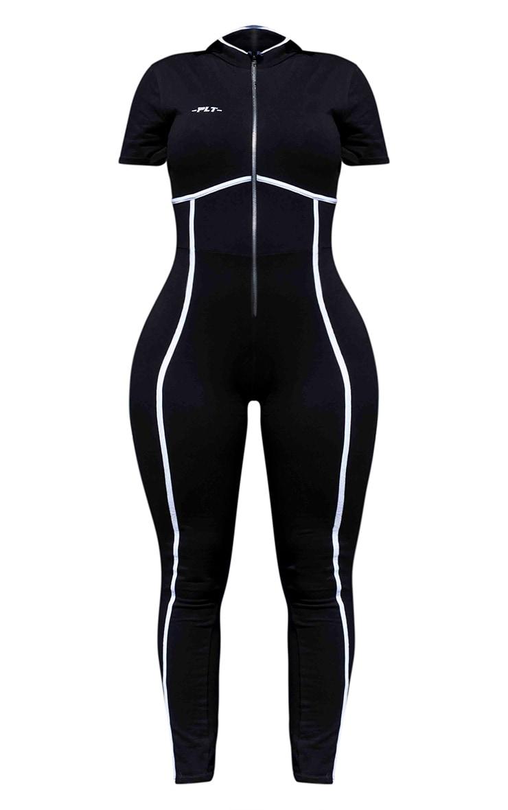 PRETTYLITTLETHING Shape Black Zip Up Binding Detail Jumpsuit 5