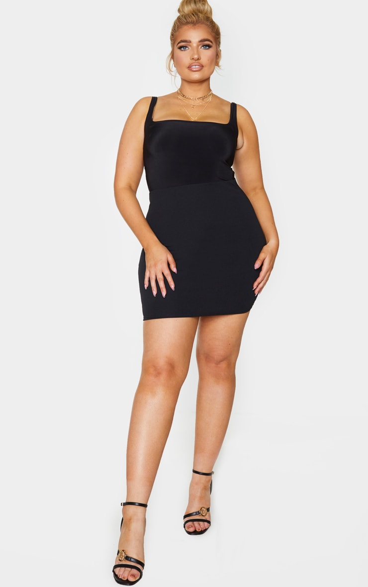 Plus Basic Black Cotton Blend Jersey Mini Skirt 4