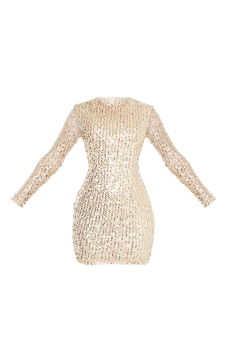 Gold Sequin Long Sleeved Bodycon Dress 3