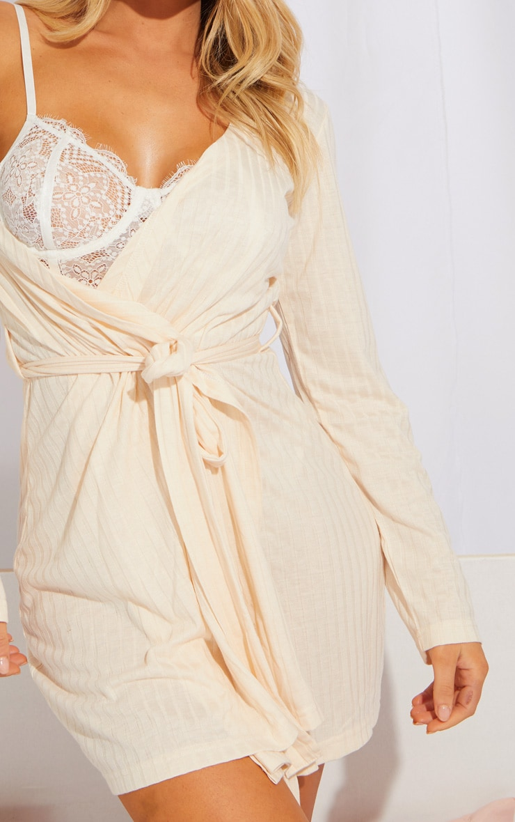 Cream Lounge Long Sleeve Dressing Gown 4
