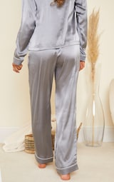 Grey Mix And Match Piped Detail Satin PJ Pants 3