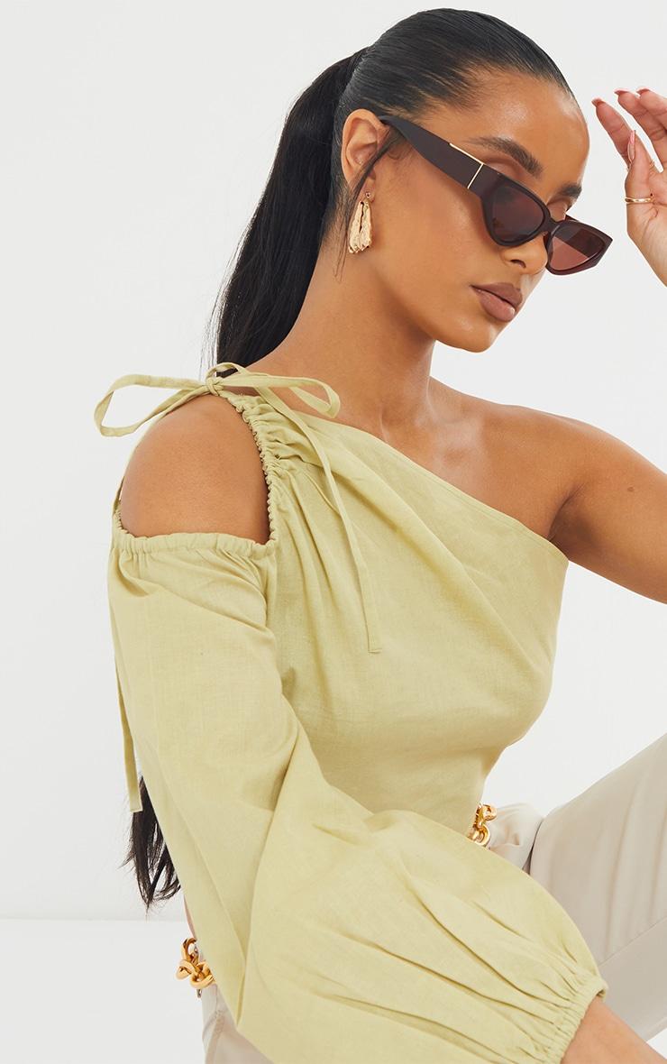 Sage Khaki Linen Look Ruched One Shoulder Cut Out Crop Top 4