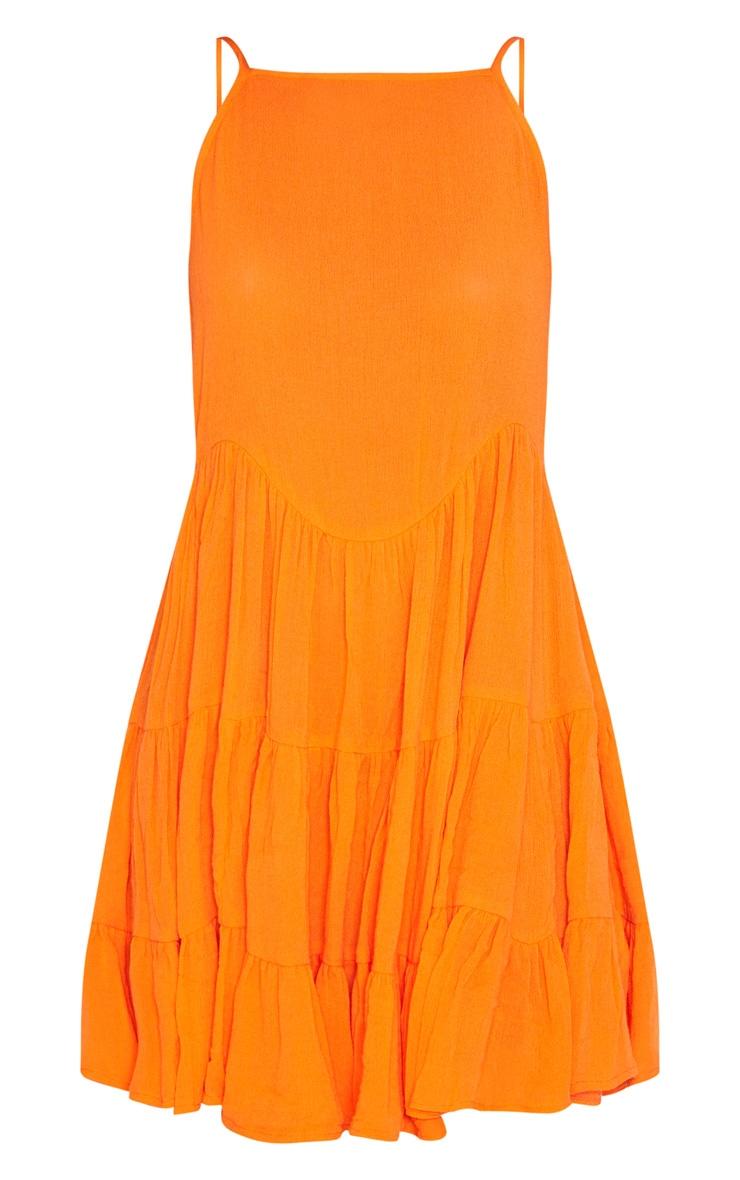 Bright Orange Cheesecloth Strappy Tiered Cami Dress 3